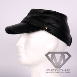 LEATHER MILITARI CAP