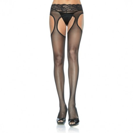 LEG AVENUE SPANDEX SHEER SUSPENDER HOSE WITH LACE WAIST