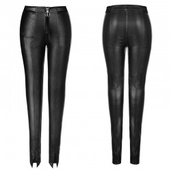 PUNK RAVE elastic skinny leather trousers