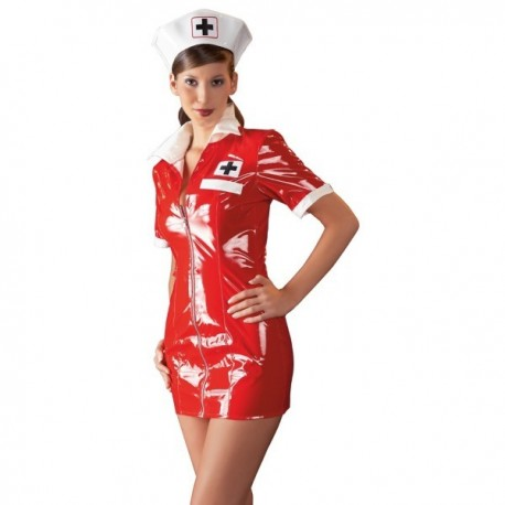 VINYL NURSE DRESS RED
